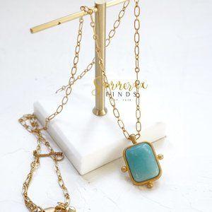 Madewell Turquoise Stone Pendant Long Necklace